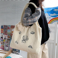 New Winter Plush Shoulder Bag Women Soft Tote Embroidery Sho...