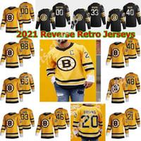 Boston Bruins 88 David Pastrnak 2020-21 Reverse Retro Hockey Jersey 4 Bobby ORR 37 Patrice Bergeron 77 Ray Bourque Ice Hockey Trikots