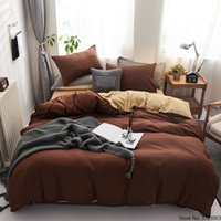 Nordic Style Simple Solid Color Bed Linens Fashion Bedding Sets Family Duvet Cover Set Quilt Cover Double Sided Queen King Size Z1126