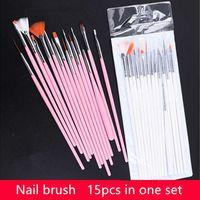 15 pezzi Pennelli per unghie per gel professionali 15 Taglie Nail Art Pennello in acrilico Penne in legno Maniglia in legno Dottura Disegno Pennello Set