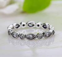 도매 새로운 유럽 레트로 다이아몬드 925 실버 서명 포장 원형 반지 Fit Pandora 큐빅 지르코니아 기념일 쥬얼리 여성 렌느러