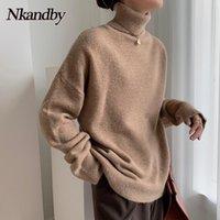 Camisolas das Mulheres Nkandby Turtleneck Lã Mulheres 2021 Outono Inverno Moda Loose Coreano Pullover Jumpers Casual Feminino Tops