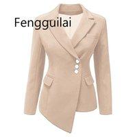 Fengguilai moda outono 2020 blazer feminino novo europeu e americano mulheres manga longa asmétrica lapela terno jaqueta sólido