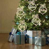 Carta de Navidad Iglesia de madera Iglesia Burbuja patrón Adorno Árbol de Navidad Decoraciones Adornos de Festival Inicio Regalo Colgante WQ274