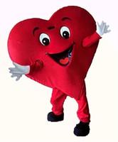 Coração vermelho traje de mascote personagem de desenho animado tamanho adulto longteng (TM) 0225424