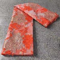 Lindo design Africano Organza Lace Tecido Francês Tulle Lace Nigeriano Jacquard Brocade Lace Tecido para vestido de festa SD03