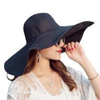 المرأة كاب الصيف للطي واسعة بريم القبعات القبعات الكبيرة الشمس القبعات uv حماية بنما المرن شاطئ السيدات القوس قبعة chapeau femm1