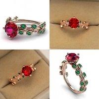 Inlay Zircon Lady Anelli Gioielli Gioielli donna fiore rosso verde foglia colore strass placcato oro rosa anello 2 8mq J2