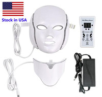 Lager in den USA 7 Farbe LED Maske Lichttherapie Gesicht Schönheit Maschine LED Gesichtshalsmaske mit Mikroströmung LED Haut Verjüngung Freies Verschiffen
