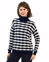 Zhili Mulheres 100% Cashmere Block Wave Knit Turtleneck Thicken Sweater1
