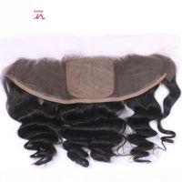Перуанская свободная волна шелковая база кружева лобное закрытие девственницы человеческие волосы предварительно сорванные 13x4 ухо до уха Среднее свободное закрытие трех частей кружева