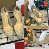 Новые весенние летние элегантные стили женские туфли горный хрусталь высокие каблуки кристаллы заостренные носки сетки насосы женщины красная подошва свадьба обувь