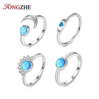 Anillos de racimo Tongzhe Moda Flower Moon Heart Opal para las mujeres 925 Sterling Silver Big Knuckle Set Bohemian Jewelry Party Gift1
