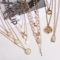 Collar colgante de rosa de cáscara de monedas para niña Luna Cristal Gargantilla Collares Mujeres Playa Declaración de moda Joyería