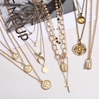 COIN COORE ROSE Pendentif Collier pour fille Moon Crystal Coukers Colliers Femmes Beach Fashion Déclaration bijoux