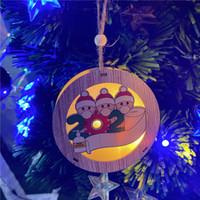 3 Stil Noel Işıkları Süs Ahşap Noel Işıkları LED Dize Asılı Kolye Kişiselleştirilmiş Noel Süsleri YYB2555