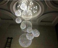 Современная Crystal Crystal Crystal для лестницы 11 шт. Большой кристаллический шар Светодиодная лампа Спиральный дизайн гостиной осветительный светильники