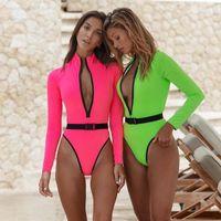 디자이너 수영복 긴 소매 Bodysuit 2020 가을 겨울 여성 패션 지퍼 V 넥 바디 콘 스판덱스 Bodysuit Clubwear Neon Romper 숙녀
