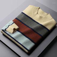 Minglu automne hiver hiver chandails de haute qualité col rond épaississement rayures chandails pour hommes mode Slim Fit Mock Camp Man Sweater1