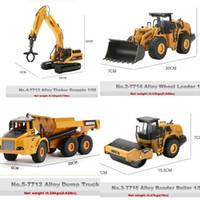 Huina Alloy Diecast Excavator 1:50 Modelo de construcción de ingeniería Bulldozer Metal Truck para niños Cumpleaños de regalo Coches de juguete Y1130