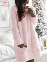 Fashion Women Autumn Winter Plush Hoodies Pockets Decor O- Ne...