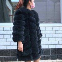 Pelliccia femminile Faux 2021 Brand Top Quality Cappotto Naturale Real Arctic Gilet Ladies Staccabile Donne Donne Design Spessore Design Inverno Trasformatore Cappotto1