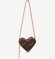 M57456 COEUR Mini Desinger Kırmızı Kalp Şeklinde Çanta Buzağı Deri Kadın Tuval Kabartmalı Crossbody Akşam Omuz Çantası Çanta