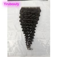Malaisien Human Hair 5x5 Fermeture de la dentelle Fermeture Deep Wave Kinky Curly Waigre de l'eau Lâche Fermeture de la vague de vague 5 * 5 Fermetures Free Trois Pièce centrale