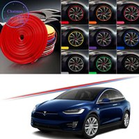 Tesla 모델 용 8m 멀티 컬러 자동차 휠 허브 림 트림 3 Y x S 2008-2020 Plus Edge Protector 링 타이어 스트립 가드 고무 스티커