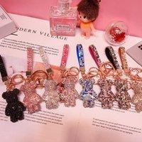 Porte-clés PVC Keychain bricolage artisanat cartoon ours à la main strass cristal chaînes de clés de charme Pendentif Porte-clés pour femmes Cadeaux