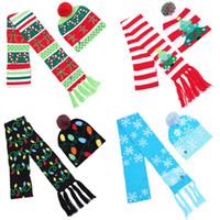 LED a maglia cappello sciarpa vestito bobble di Natale cabs bambini inverno caldo neve albero crochet con lampada festival festa decor 2pcs / set 25hb G2