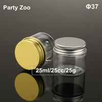 120x25 ml Clear Pet Kozmetik Kavanoz Altın / Gümüş Alüminyum Kapak, 25cc Ambalaj Kişisel Bakım Örnek Konteyner