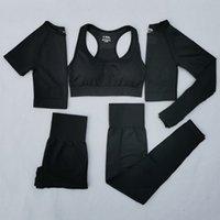 Mulheres vital yoga sem costura set workout esporte desgaste vestir roupas de ginásio curto / longo manga de manga superior alta cintura leggings terno esportivo y1225