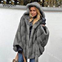 Frauen Winter Faux Pelz mit Kapuze Massivfarbe mit Fell Lange Lose Langarm Jacke Plus Größe Outwear Solid Color Outwear
