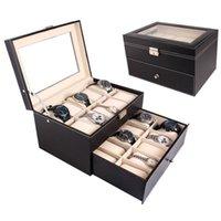 20 Grid Watch Showcase Caja de cuero Reloj de almacenamiento Caja de almacenamiento Doble Capa Colección Storage Storage EE. UU.