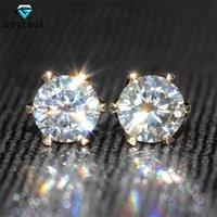 Stud Doveggs 14k 585 Amarillo Gold 1.0CTW 5mm F Color Lab Creado Moissanite Diamond Pendientes para mujeres brillantes