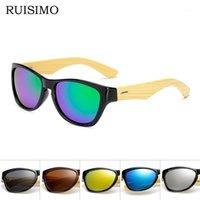 선글라스 원래 목조 대나무 남자 미러 된 UV400 태양 안경 진짜 나무 그늘 골드 블루 야외 고글 Sunglases Male1