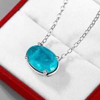Красивый овальный 10x14mm Paraiba Tourmaline Gemstone ожерелье в 925 стерлингового серебра женские женские ювелирные изделия для вечеринок подарок