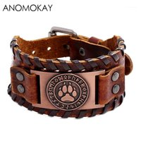 Charm Armbänder Anomokay Vintage Viking Lederband Armband Punk-Stil Handgemachte geflochtene Kuh für Männer männlich1