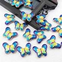 100pcs Cloisonne Enamel Fancy Butterfly Beaded Accessories DIY Charm Necklace Bracelet Earrings Jewelry Making Pendants Wholesale