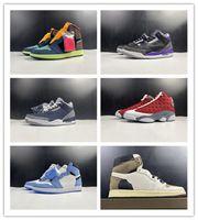 Nueva 1s I Universidad de medianoche Azul marino Rojo Flint tamaño bajas púrpura hombres zapatos de baloncesto de los deportes las zapatillas de deporte de calidad superior 7-13