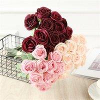 12 머리 인공 장미 11 색 시뮬레이션 장미 꽃 웨딩 파티 장식 가짜 꽃 발렌타인 선물 T9i00990