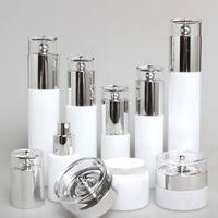 60ml spruzzare coperchi argento alluminio bottiglia, naturale pompa lozione cosmetica contenitori di vetro