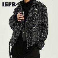 Laine de l'homme mélange IEFB porter des vestes de laine de laine de rue coréenne d'automne hiver 2021 slapel short lâche rubride beau manteau à carreaux