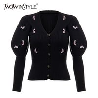 Twotwinstyle Patchowrk Kadınlar için Payetli CaiDigans V Boyun Puf Kollu Ince Siyah Kazak Kadın Yeni Gelgit Giyim Sonbahar 201221