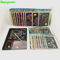 HappyXUAN 31 adet / grup Karışık Sihirli DIY Gökkuşağı Kazı Kazan Sanat Kağıt Resim Not Kitap Set Çocuklar için Kindergarten Eğitici Oyuncaklar Çizim 200928