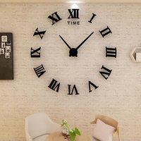 Relojes de pared Reloj 3D Diseño moderno Decoración del hogar Gran espejo romano Moda Cuarzo Sala de estar DIY Sticker Watch