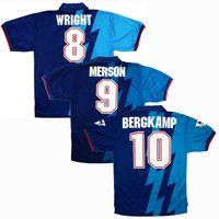 1995 1996 Bergkamp Wright الرجعية بعيدا Soccer Jersey 95 96 Adams Platt Keawn Merson Hillier خمر كلاسيكي لكرة القدم قميص