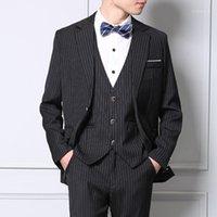 Costumes Hommes Blazers Mens Set Stripe Slim Fit Mariage Groom Tuxedos Bureau d'affaires officiel Costume occasionnel HPMME (Blazer + pantalon + Gilet) 1