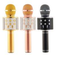 WS858 Micrófono Inalámbrico Bluetooth Karaoke WS-858 Micrófono USB KTV Player Player Móvil Player MIC Speaker Record Music